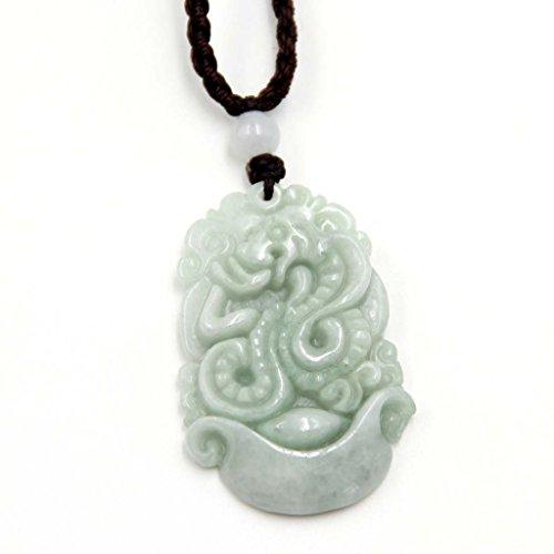 Ovalbuy jadeíta Natural joya tallada símbolo chino serpiente Boa amuleto colgante 37mm * 23mm
