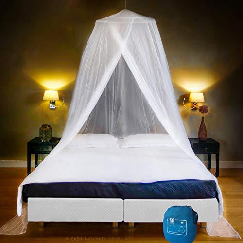 EVEN NATURALS MOSKITONETZ Doppelbett, XXL Mückennetz Bett inkl. Montagematerial, Betthimmel, Moskitoschutz Zuhause, Insektenschutz Reise, einfache Anbringung, Tragetasche, Keine Chemikalien -