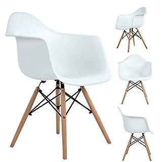 Ajie Lot de 4 Chaise de Salle à Manger, Fauteuil de Chaise latérale Design rétro Jambe de Bois de hêtre Massif - Blanc