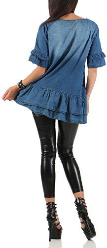 malito Oberteil in Jeans-Optik kurzarm Rundhals 7164 Damen One Size Blau