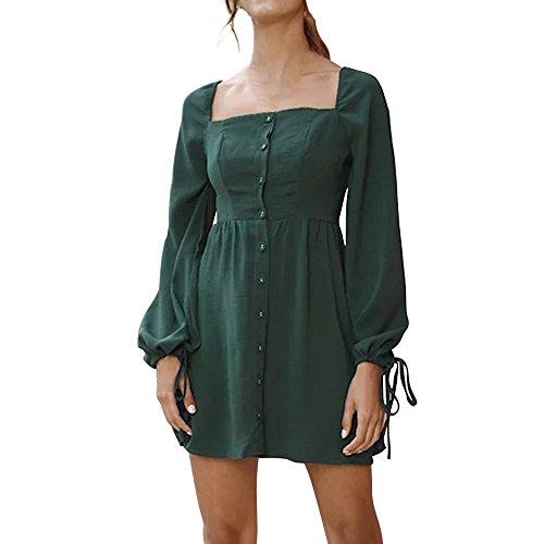 ESAILQ Damen Camisole Langarm Square Neck Minikleid Knopf Tasche Mode Kleid(S,Grün)