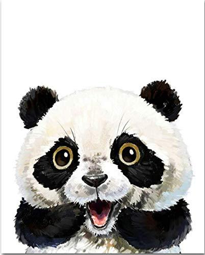 REDWPQ Wow-Panda Niedlichen Tier DIY Malen Nach Zahlen Kit Malen Auf Leinwand Malerei Kalligraphie Für Wohnkultur 40 * 50 cm Eingerahmt