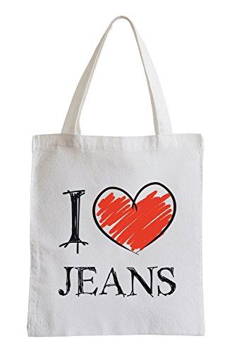 Amo i jeans Fun sacchetto di iuta