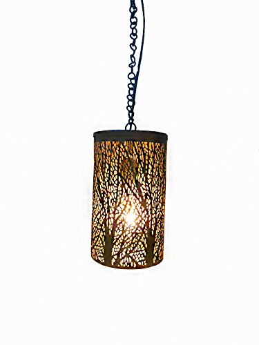 Handicraftscart Iron Tree Shade Ceiling Lantern Hanging (8 x4 inchs, 20 wattage,Gold, black)
