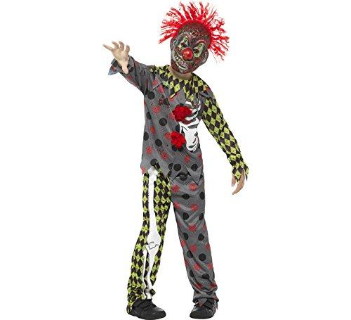 Smiffys, Kinder Unisex Deluxe Verdrehtes Clown Kostüm, Oberteil, Hose und Maske mit Haaren, Alter: 12+ Jahre, 45125 (Tween Kostüme Ideen)