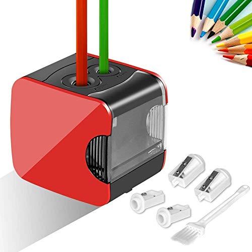Elektrischer Anspitzer, Meerveil Anspitzer mit USB- und Batteriebetrieb, Vollautomatischer Bleistiftspitzer mit 2 Löcher von Verschiedenen Größe, Sicher für Kinder, Rot