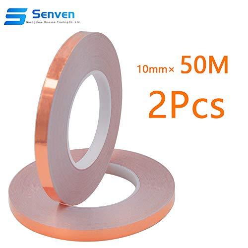 Senven Cinta Adhesiva primera calidad cobre - Conductor - (50m × 10 mm) × 2 - Blindaje EMI y RF, circuitos papel, soldadura, reparaciones eléctricas, Repelente de babosas - Paquete de 2