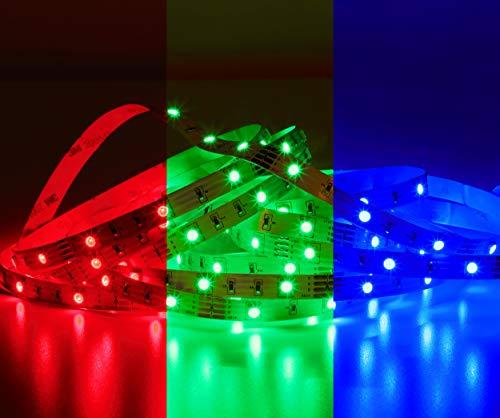 LED Strip RGB para iluminación indirecta de colores según Sus deseos: Elija entre diferentes colores, efectos de luz y cambio de color programas, deseada, flexible y autoadhesivo, 3m longitud