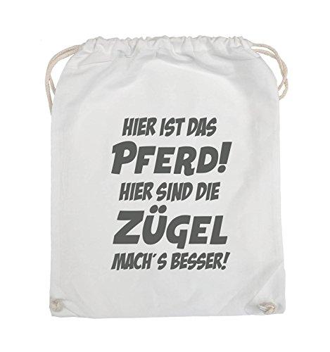 Comedy Bags - Hier ist das Pferd! Hier sind die Zügel mach's besser! - Turnbeutel - 37x46cm - Farbe: Schwarz / Pink Weiss / Grau