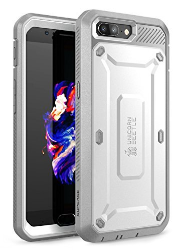SUPCASE OnePlus 5 Hülle, Ganzkörper Robust Halfter Hülle mit Eingebaute Bildschirmschutz für OnePlus 5 (2017 Version), Unicorn Beetle PRO Serie Verkaufsverpackung (Weiß/Grau)