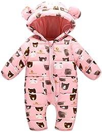 Bebé Mono Mameluco de Invierno Traje de Nieve Espesar Peleles Pijama con Capucha