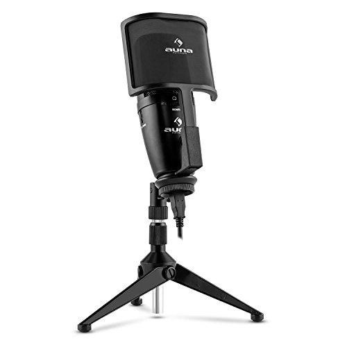 auna Studio-Pro microfono a condensatore (capsula elettrete di 32mm, USB, stativo da tavolo, membrana, protezione dal vento, compatibile con Windows e Mac) - nero