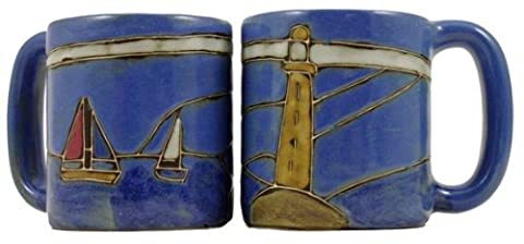One (1) MARA STONEWARE COLLECTION - 16 Ounce Coffee Cup Collectible Dinner Mug - Lighthouse Design