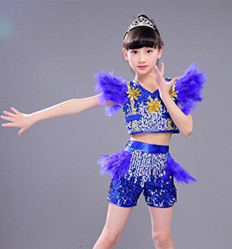 Kinder Jazz Dance kostüm modernen Tanz hip-hop Leistung Kleidung, Blue, - Hip Hop Kostüm Für Tanz Wettbewerb