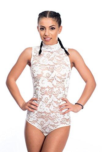 Evoni Spitzen-Body | Damen Stringbody mit Halbkragen | Unterzieh-Body ärmellos | verschiedene Farben & Größen | breite Träger | Damen-Dessous | florale Spitze | Verschluss-Haken | Miederbody Creme