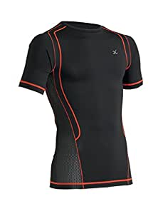 CW-X Conditioning Wear Men's Short Sleeve Ventilator Web Top, Small, Black/Orange
