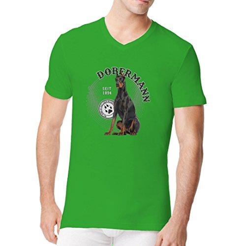 Im-Shirt - Hunde Motiv: Dobermann Foto Spots cooles Fun Men V-Neck - verschiedene Farben Kelly Green