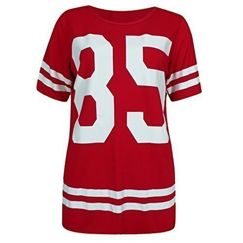 Femmes Américain Baseball Universitéà Rayures Imprimé 85 surdimensionné T-Shirt Haut Ample Rouge