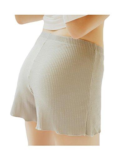 Bestgift Damen Sicherheitshosen Solide Farbe Shorts Boxershorts Unterwäsche Beige Gelb