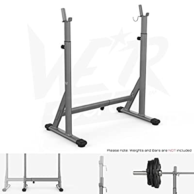 We R Sports® Adjustable Squat Barbell Power Rack Stand Weight Bench Support Home Gym Fitness from We R Sports