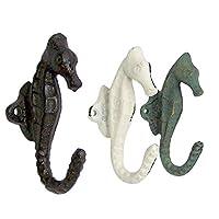 Seahorse Nautical Theme Set of 3 Wall Hook 5 inch