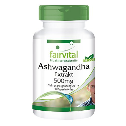 Ashwagandha-Extrakt 500mg - für 1 Monat - HOCHDOSIERT - VEGAN - 60 Kapseln - standardisiert auf 5% Withanolide
