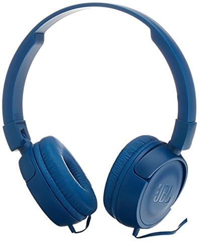 JBL T450 On-Ear Kopfhörer Ohraufliegend Leicht mit 1-Tasten-Fernbedienung und Mikrofon Kompatibel mit Apple und Android Geräten -