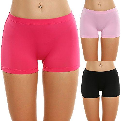 Ekouaer 3er Pack Damen Pantys Unterwäsche Hot Pants Dessous Hipster Boxershorts mit Karo Spitze Schleife, farbe: Rosarot, Gr. EU 36 (Herstellergröße: S)