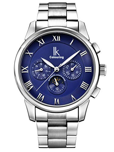 Alienwork Herren Damen mechanische Automatik-Uhr Silber mit Edelstahl Metallarmband Kalender blau