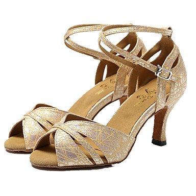 Scarpe da ballo-Non personalizzabile-Da donna-Balli latino-americani / Jazz-A stiletto-Brillantini-Nero / Argento / Dorato Black
