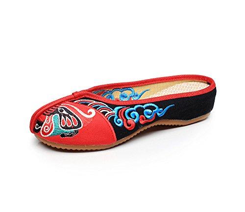 DESY scarpe ricamate, unico tendine, stile etnico, femminile infradito, moda, comodi, sandali casuali Red