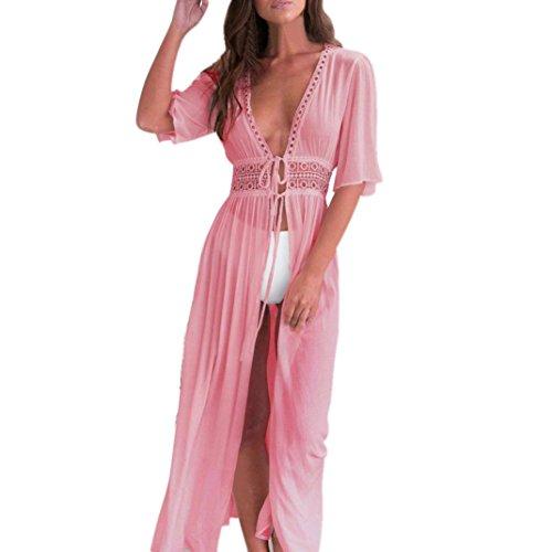 emp caps JUTOO Frauen Bikini Cover Up Cardigan Strand Badeanzug Kleid(Rosa, EU:38/CN:M)