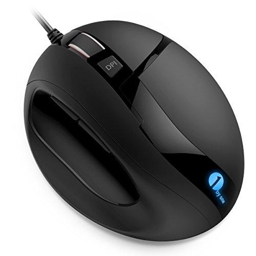 Mouse USB Ottico e Ergonomico Mouse con DPI Regolabili e LED, 6 Tasti, Nero