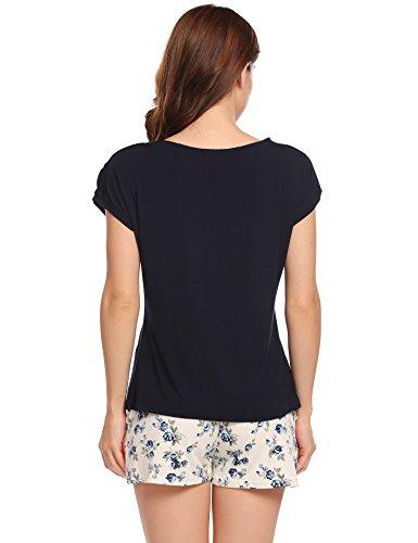 Ekouaer Damen Druck Schlafanzug Langarm Pyjama Polka Dots Zweiteiliger Lang Hausanzug Dunkelblau658