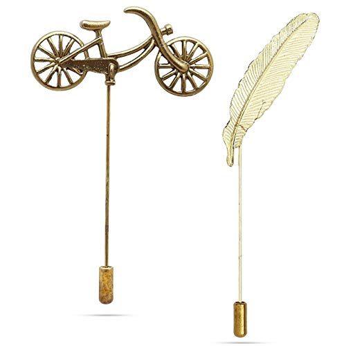 Panjatan Men's Antique Cycle and Golden Tilt Leaf Brooches Combo by WI Retail.