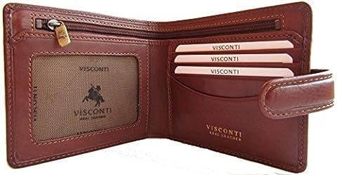 New Men's Visconti Tuscany anti fraud RFID security leather wallet Style Massa TSC-41 (Tan)