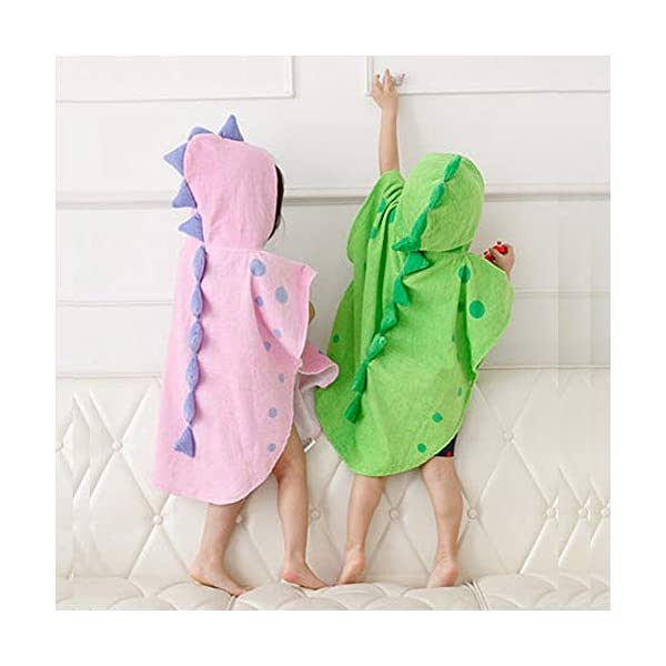 UULMBRJ - Albornoz infantil, diseño de dinosaurio, unisex, con capucha, para playa o para nadar, algodón, Rosa, Small 3