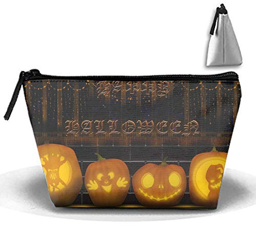 Halloween Happy Pumpkin Toiletry Bag-Portable Travel Organizer Cosmetic Make Up Bag Case for Women Men Shaving Kit for Vacation