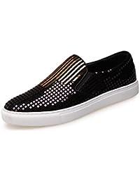 HYLM Hombres Zapatos de cuero genuino Sequins Nightclub Zapatos Zapatos planos Zapatos de deporte casual Driving Shoes , gold , 42