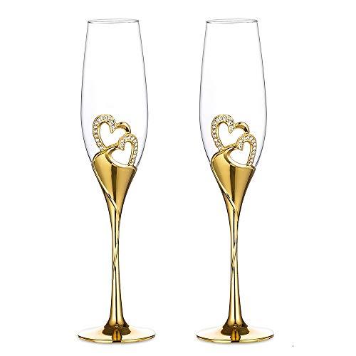 Sziqiqi Una Pareja 2 Piezas De Copas Creativas De Altao Grado Copas Copas De Cristal De Esmalte Con Diamente En Forma De Corazón Para Loa Amantes, Oro Copa de champán-1#