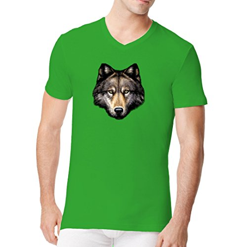 Fun Männer V-Neck Shirt - Wolf Head by Im-Shirt Kelly Green