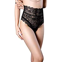 Moda europea americana Mujeres Sexy Lace G-string Breve Pantie Tanga Lencería Hollow Out Package Hip Ladies Ropa interior - Negro XL