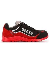 Sparco Nitro S3 SRC Scarpe Antinfortunistiche da Lavoro Nero/Rosso in Pelle Fiore Impermeabile
