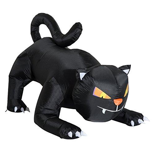Aufblasbare Halloween Katze (Homcom® Aufblasbare Katze Figur Schwarz Halloween Deko Luftfigur mit LED Beleuchtung, Polyester,)