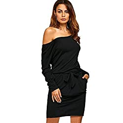LIKELYY Women Sexy Solid Off Shoulder Long Sleeve Elastic Bank Evening Party Mini Dress