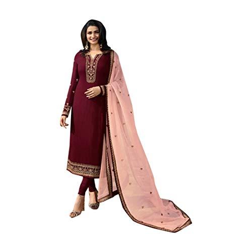 SHRI BALAJI SILK & COTTON SAREE EMPORIUM Marron Seiden-Georgette-Churidar-Salwar-Anzug mit bedrucktem Dupatta für Damen-Indianer-Designerparty-Bekleidung 7701 Georgette Churidar