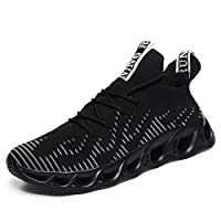 Kvovzo Shoes for Men Running Mens Sneakers Mesh Breathable Lightweight Tennis Sport Casual Walking Athletic Shoes Black 8.5