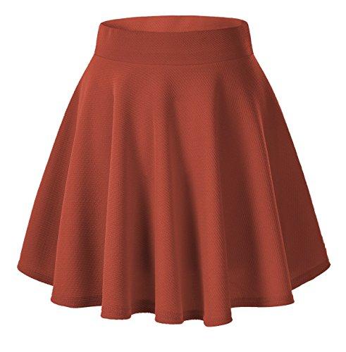 Urban GoCo Falda Mujer Elástica Plisada Básica Patinador Multifuncional Corto Falda (XL, Herrumbre rojo)