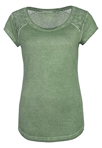 Fresh Made Damen Shirt mit Spitze Einfarbig | Frauen T-Shirt Uni mit Spitzeneinsatz und Rundhals-Ausschnitt Middle-green1 M