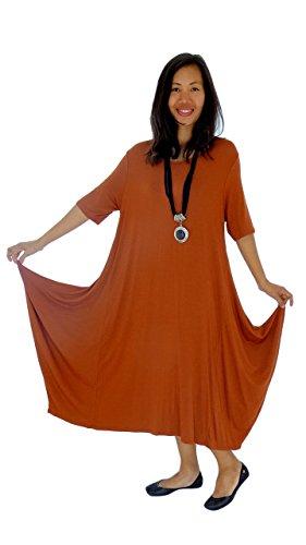 Mein Design Lagenlook de Mallorca Damen Kleid HD900 Tunika one size Jersey Ballonkleid Kurzarm Gr. 38, 40, 42, 44 asymmetrisch Orange